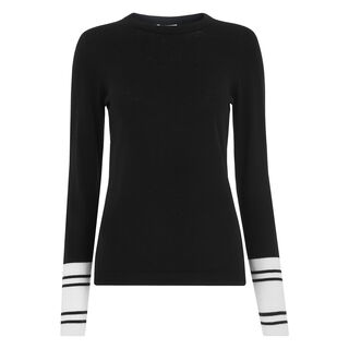 Stripe Cuff Crew Neck Knit, in Black and White on Whistles