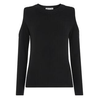 Embellished Cold Shoulder Knit, in Black on Whistles