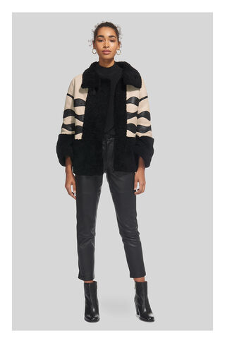 Abi Panelled Shearling Jacket, in Black/Multi on Whistles