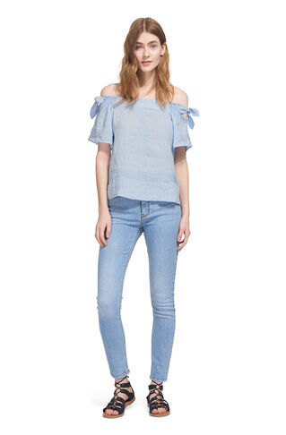Lila Tie Linen Bardot Top, in Blue on Whistles