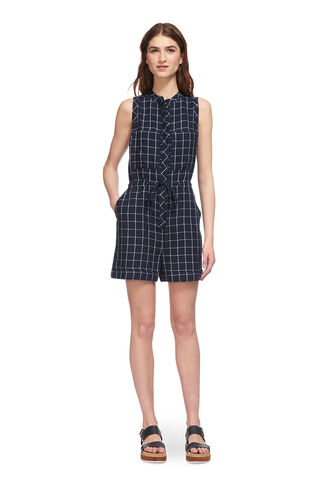 Check Linen Playsuit, in Navy on Whistles