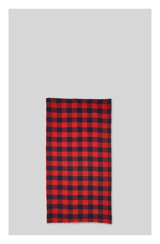 Square Check Scarf, in Red/Multi on Whistles