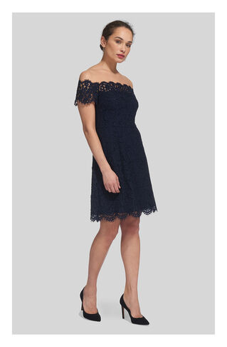 Off Shoulder Lace Dress, in Navy on Whistles