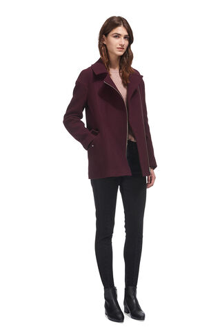 Maddie Wool Biker Coat, in Burgundy on Whistles