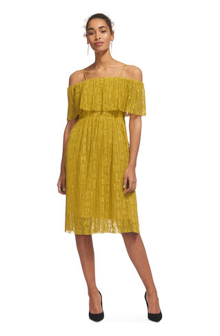 Off Shoulder Pleated Dress, in Yellow on Whistles