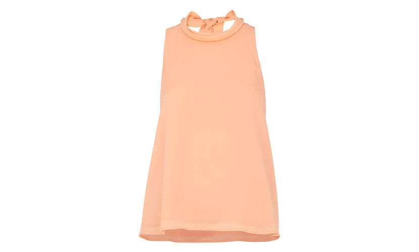 Roll Neck Tie Back Top, in Peach on Whistles