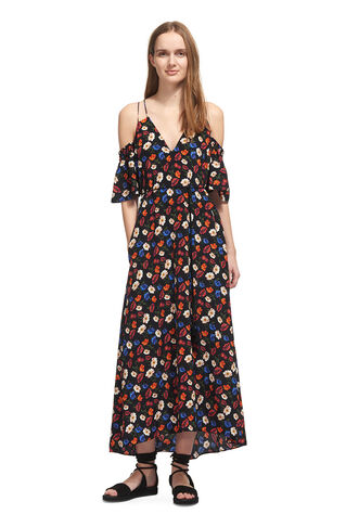 Resort Pansy Print Silk Dress, in Black/Multi on Whistles