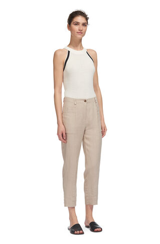 Washed Relaxed Linen Trouser, in Neutral on Whistles