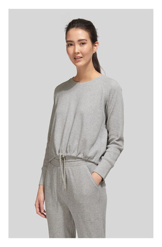 Waffle Lounge Drawcord Top, in Grey Marl on Whistles
