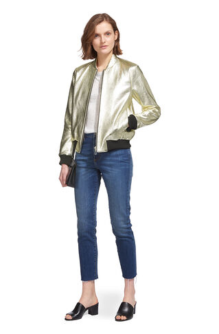 Metallic Leather Bomber, in Silver on Whistles