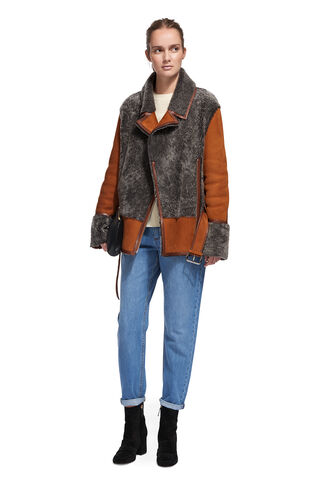 Irena Sheepskin Flying Jacket, in Grey on Whistles