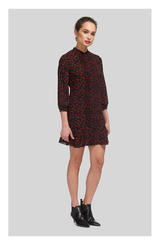 Lilly Lips Print Pintuck Dress, in Black/Multi on Whistles