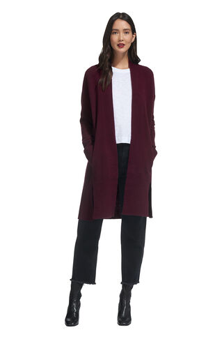 Long Rib Hem Cardigan, in Burgundy on Whistles