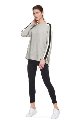 Stripe Detail Relaxed Sweat, in Grey on Whistles