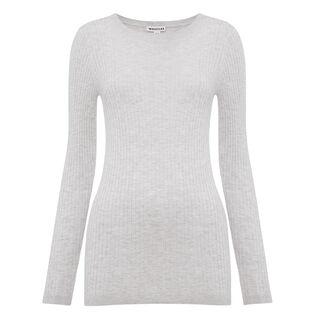 Irina Ribbed Slim Knit, in Grey on Whistles