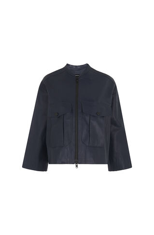 Olive Leather Bomber, in Navy on Whistles