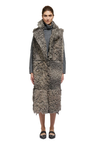 Ula Shearling Longline Gilet, in Grey on Whistles