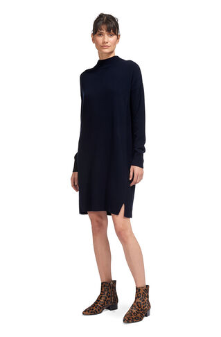 Cashmere Rib Back Dress, in Navy on Whistles