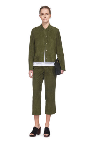 Magda Suede Wide Trouser, in Dark Green on Whistles