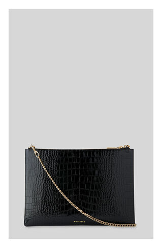 Shiny Croc Rivington Clutch, in Black on Whistles