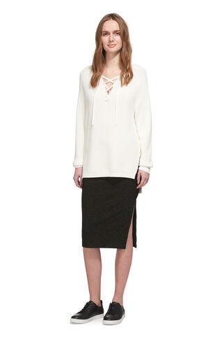 Ribbed Marl Jersey Tube Skirt, in Khaki on Whistles