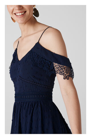Issa Lace Cold Shoulder Dress, in Navy on Whistles