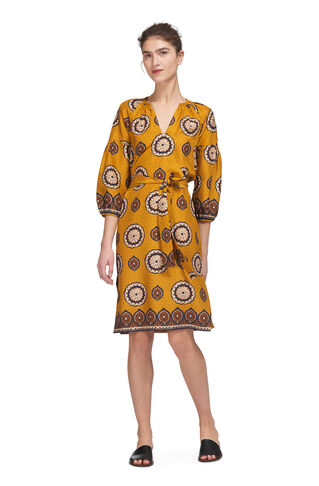 Tahlia Surya Print Silk Dress, in Yellow/Multi on Whistles