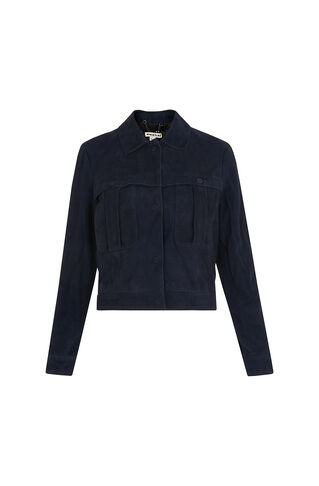 Romy Suede Jacket, in Blue on Whistles