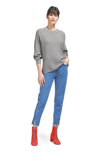 Dolman Horizontal Rib Knit, in Grey Marl on Whistles