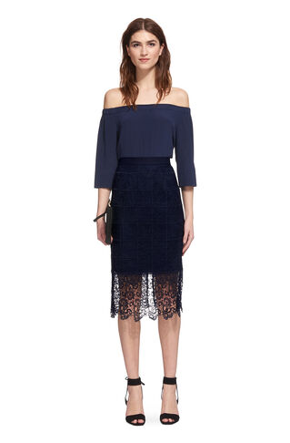 Ailsa Lace Skirt, in Navy on Whistles