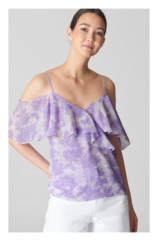 Batik Lily Print Frill Top, in Lilac on Whistles
