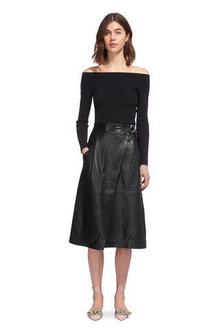 Wrap Leather Midi Skirt, in Black on Whistles