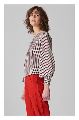 Stripe Bell Cuff Poplin Top, in Multicolour on Whistles