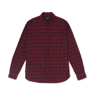 Essential Textured Check Shirt, in Burgundy on Whistles