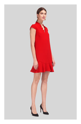 Federica Frill V-Neck Dress, in Red on Whistles
