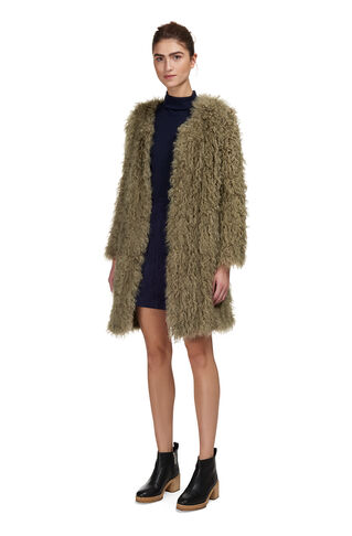 Longline Knit Sheepskin Coat, in Khaki on Whistles