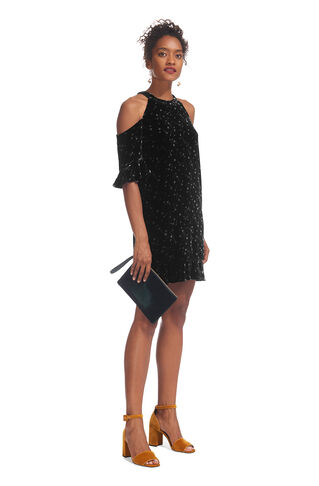 Velvet Constellation Dress, in Black and White on Whistles