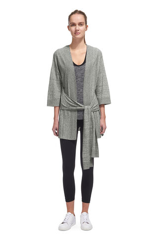 Wrap Yoga Cardigan, in Grey Marl on Whistles