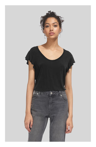 Cupro Frill Sleeveless Top, in Black on Whistles