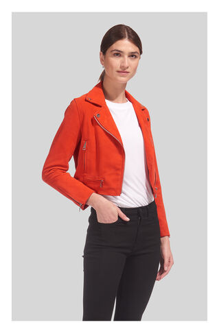 Rose Suede Crop Jacket, in Orange on Whistles