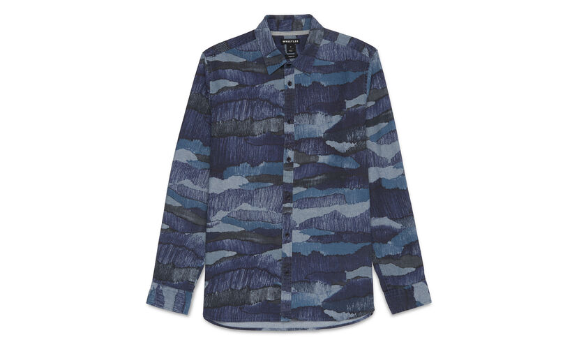 Camo Print Chambray Shirt, in Blue/Multi on Whistles