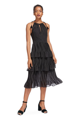 Imie Amena Print Tiered Dress, in Black and White on Whistles