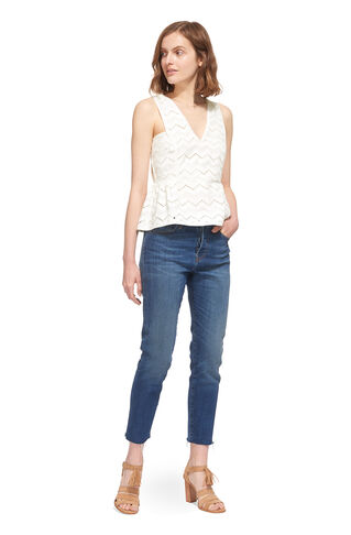 Caterina Frill Hem Top, in Ivory on Whistles
