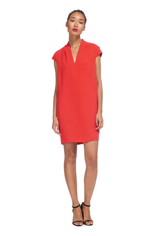 Paige V-Neck Dress, in Coral on Whistles