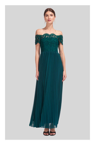 Bardot Lace Pleat Maxi Dress, in Green on Whistles