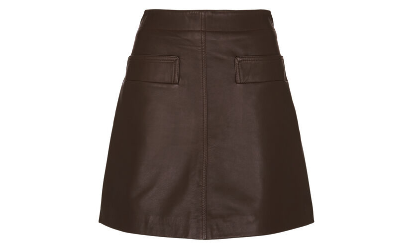 Rita Leather Skirt, in Chocolate on Whistles