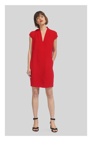 Paige V Neck Crepe Dress, in Red on Whistles
