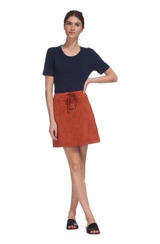 Lace Up Suede A Line Skirt, in Cinnamon on Whistles