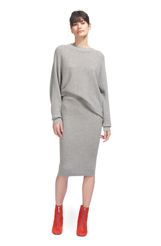 Cashmere Mix Knitted Skirt, in Grey Marl on Whistles