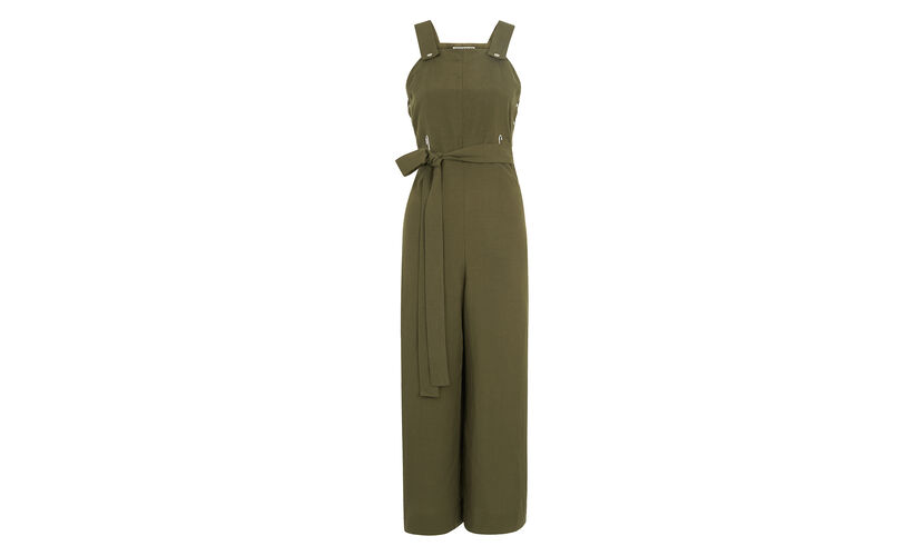 Tie Front Dungaree Jumpsuit, in Khaki on Whistles